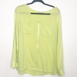 Soft Surroundings Chartreuse Full Zip Top Large